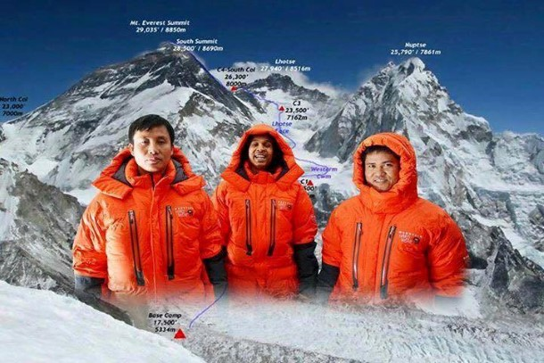 Myanmar Flag on Everest ေဖ့ဘြတ္တြင္ ပ႐ိုဖိုင္ဓာတ္ပံုတြင္ ေတြ႕ရေသာ ဧဝရက္ေတာင္တက္အဖြဲ႕ဝင္ ၃ ဦး
